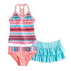 Girls 7-16 ZeroXposur 3 pc Patterned Tankini Set