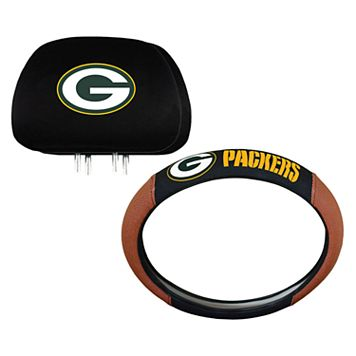 Green Bay Packers Steering Wheel & Head Rest Cover Set