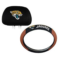 Jacksonville Jaguars Steering Wheel & Head Rest Cover Set