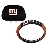 New York Giants Steering Wheel & Head Rest Cover Set