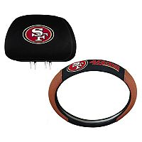 San Francisco 49ers Steering Wheel & Head Rest Cover Set