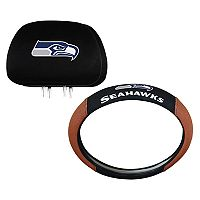 Seattle Seahawks Steering Wheel & Head Rest Cover Set