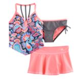 Girls 7-16 ZeroXposure 3 pc Printed Tankini Set
