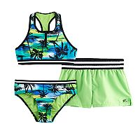Girls 7-16 ZeroXposur Palm Print 3-pc. Bikini Set