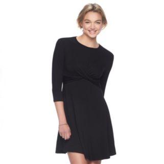 Juniors' Hint of Mint Twist Front Fit & Flare Dress