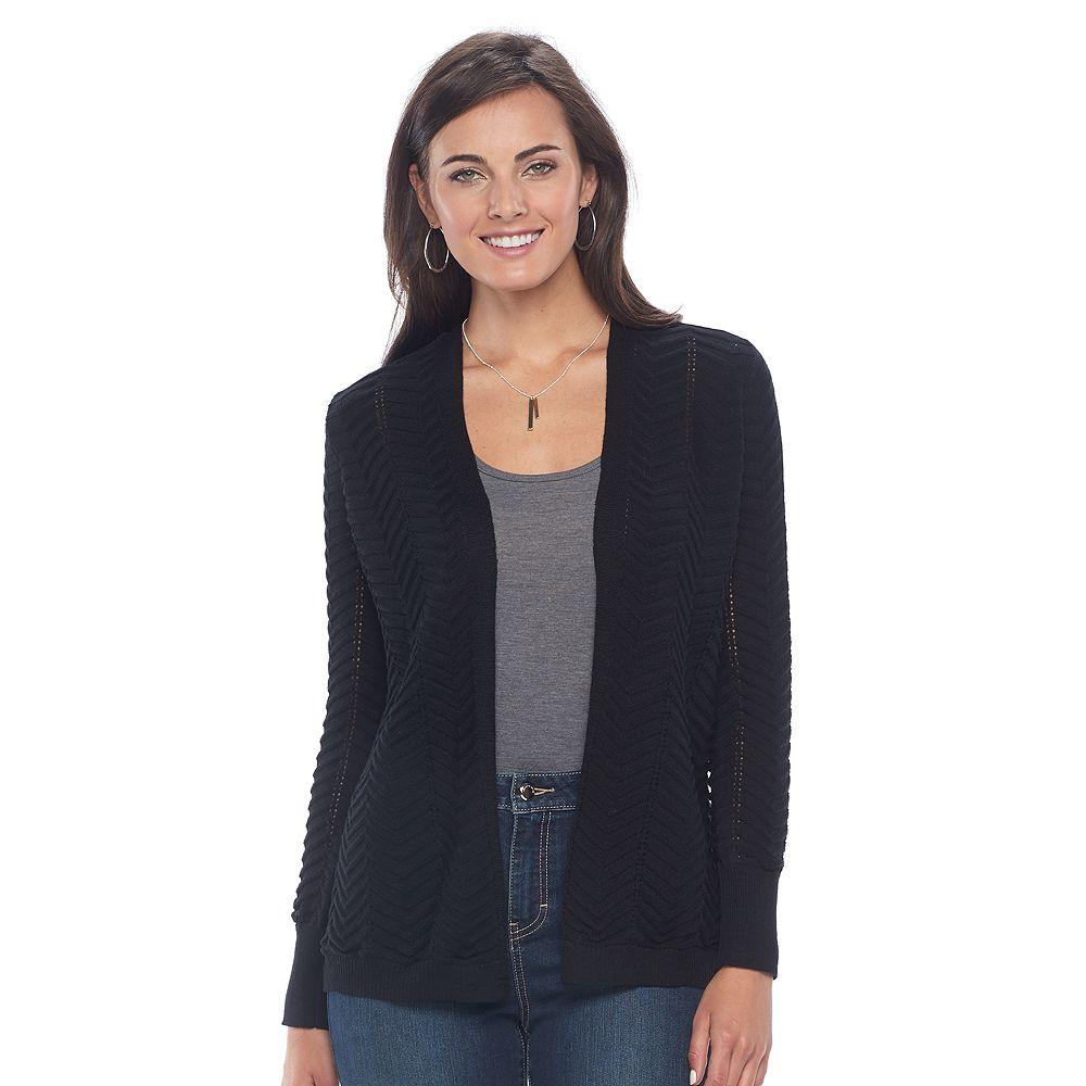 Apt. 9® Chevron Open-Front Cardigan Sweater