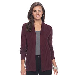 Women's Apt. 9® Chevron Open-Front Cardigan Sweater