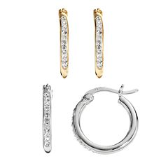 Chrystina 14k Gold Plated & Silver Plated Crystal Hoop Earring Set