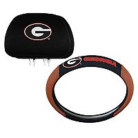 Georgia Bulldogs Steering Wheel & Head Rest Cover Set