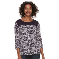 Women's Croft & Barrow® Lace Yoke Popover Top