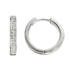 Chrystina Silver Plated Crystal Inside Out Hoop Earrings