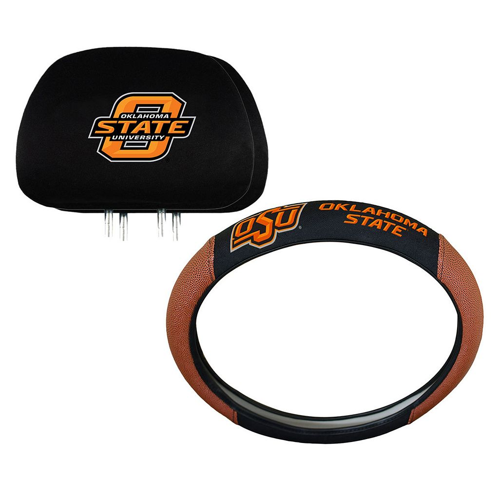 Oklahoma State Cowboys Steering Wheel & Head Rest Cover Set