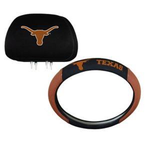 Texas Longhorns Steering Wheel & Head Rest Cover Set