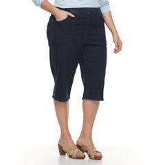 Plus Size Croft & Barrow® Mini Tab Rivet Capri Jeans