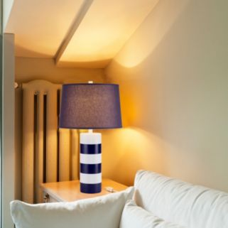 Catalina Lighting Navy & White Striped Table Lamp