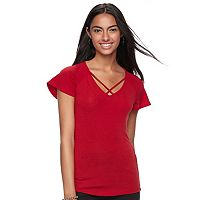 Juniors' Candie's® Strappy Flutter Sleeve Tee