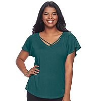 Juniors' Plus Size Candie's® Strappy Flutter Sleeve Tee