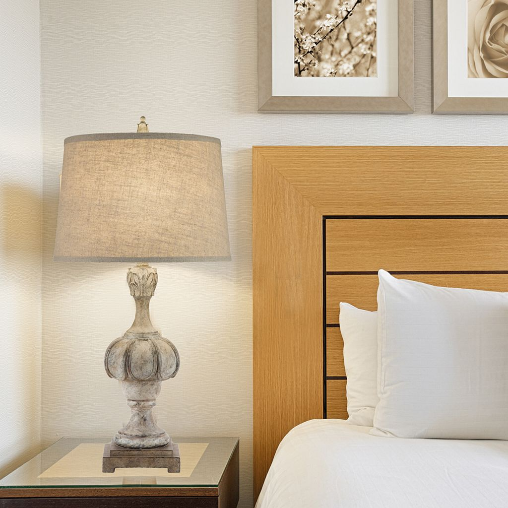Catalina Lighting Weathered Faux-Wood Table Lamp