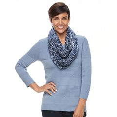 Women's Croft & Barrow® Textured Sweater & Scarf