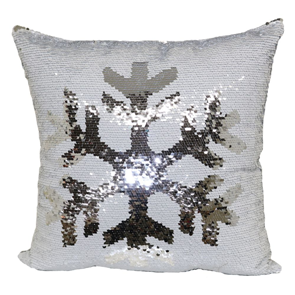 Mermaid Sequin Snowflake Throw Pillow