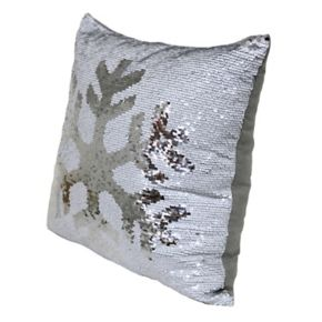 Brentwood Mermaid Sequin Snowflake Throw Pillow