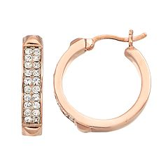 Chrystina Pave Crystal Hoop Earrings