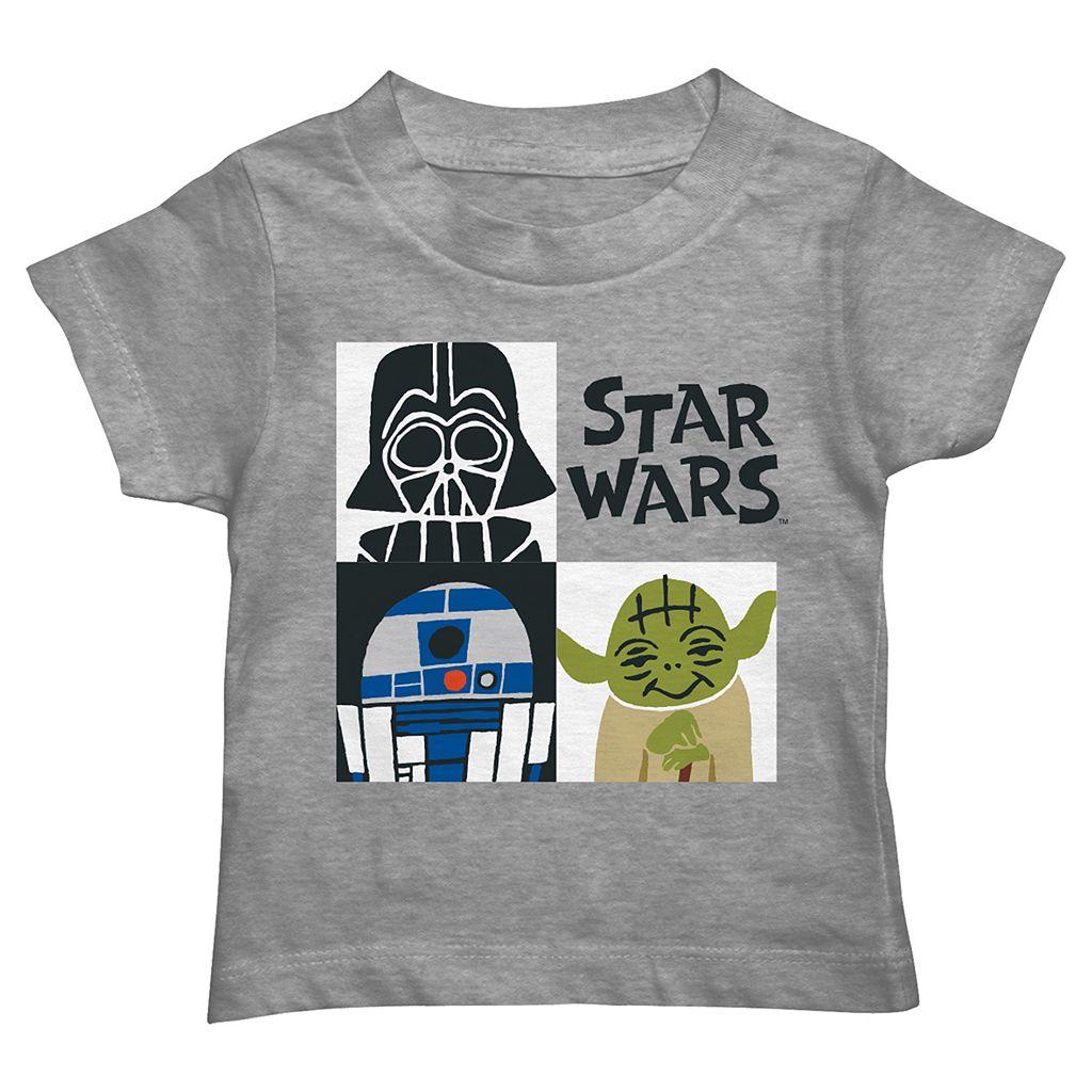 Toddler Boy Star Wars Darth Vader, R2D2 & Yoda Grid Graphic Tee