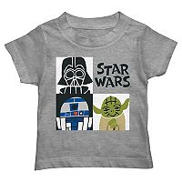 Toddler Boy Star Wars Darth Vader, R2D2 & Yoda Grid Graphic Tee