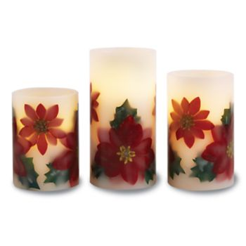 Apothecary Poinsettia Flameless LED Candle & Remote 4-piece Set
