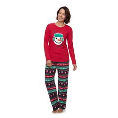 Women's Jammies For Your Families Snowman Top & Fleece Bottoms Pajama Set