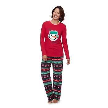 Women's Jammies For Your Families Snowman Top & Fleece Bottoms Pajama Set