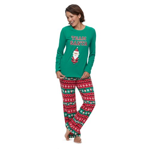 "Women's Jammies For Your Families ""Team Santa"" Top & Fleece Bottoms Pajama Set"