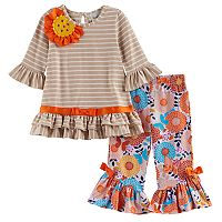 Toddler Girl Rare Editions Striped Flower Applique Top & Patterned Bell Bottom Leggings Set