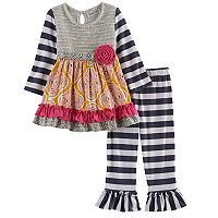 Toddler Girl Rare Editions Knit Embellished Top & Striped Leggings Set