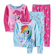 Toddler Girl My Little Pony 4 pc Rainbow Dash & Pinkie Pie Pajama Set