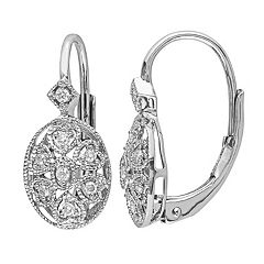 Stella Grace Sterling Silver 1/8 Carat T.W. Diamond Oval Drop Earrings
