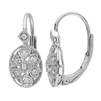 Stella Grace Sterling Silver 1/8 Carat T.W. Diamond Oval Drop Earrings