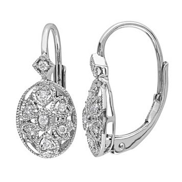 Sterling Silver 1/8 Carat T.W. Diamond Oval Drop Earrings