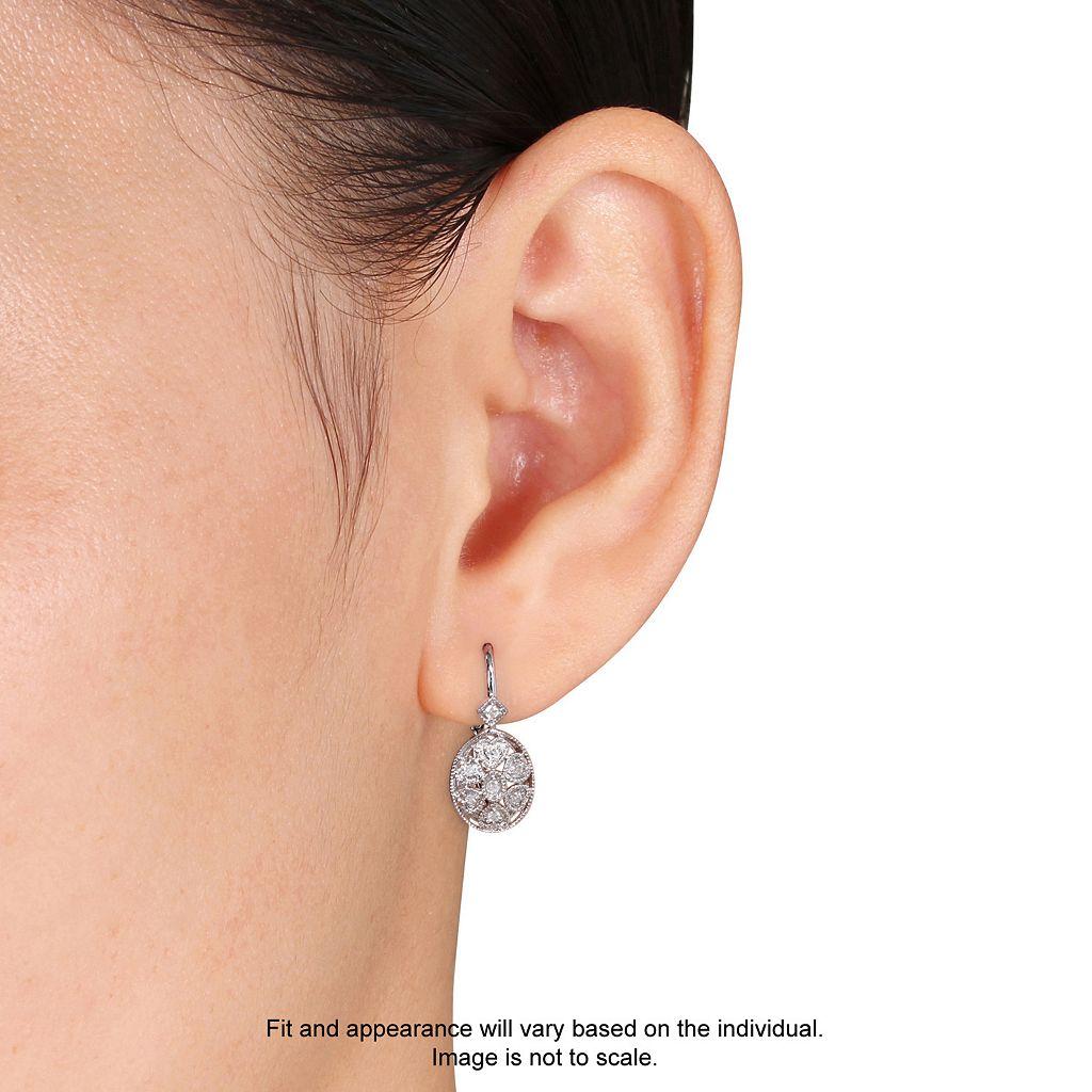 Sterling Silver 1/8 Carat T.W. Diamond Oval Drop Earrings