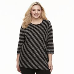 Plus Size Cathy Daniels Asymmetrical Striped Sweater