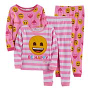 Toddler Girl Emoji 4 pc Smiley Face 'Be Happy' Pajama Set