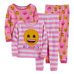 Toddler Girl Emoji 4-pc. Smiley Face 'Be Happy' Pajama Set