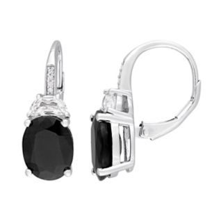 Sterling Silver Black Sapphire, Lab-Created White Sapphire & Diamond Accent Oval Drop Earrings