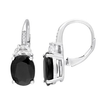 Stella Grace Sterling Silver Black Sapphire, Lab-Created White Sapphire & Diamond Accent Oval Drop Earrings