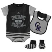 Baby Majestic Colorado Rockies Property 3-Piece Bodysuit Set