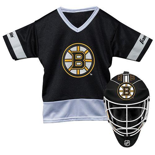 Youth Franklin Boston Bruins Goalie Face Mask & Jersey Set