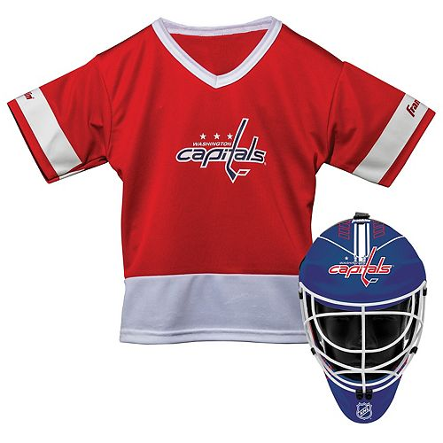 Youth Franklin Washington Capitals Goalie Face Mask   Jersey Set 1173d0c5f