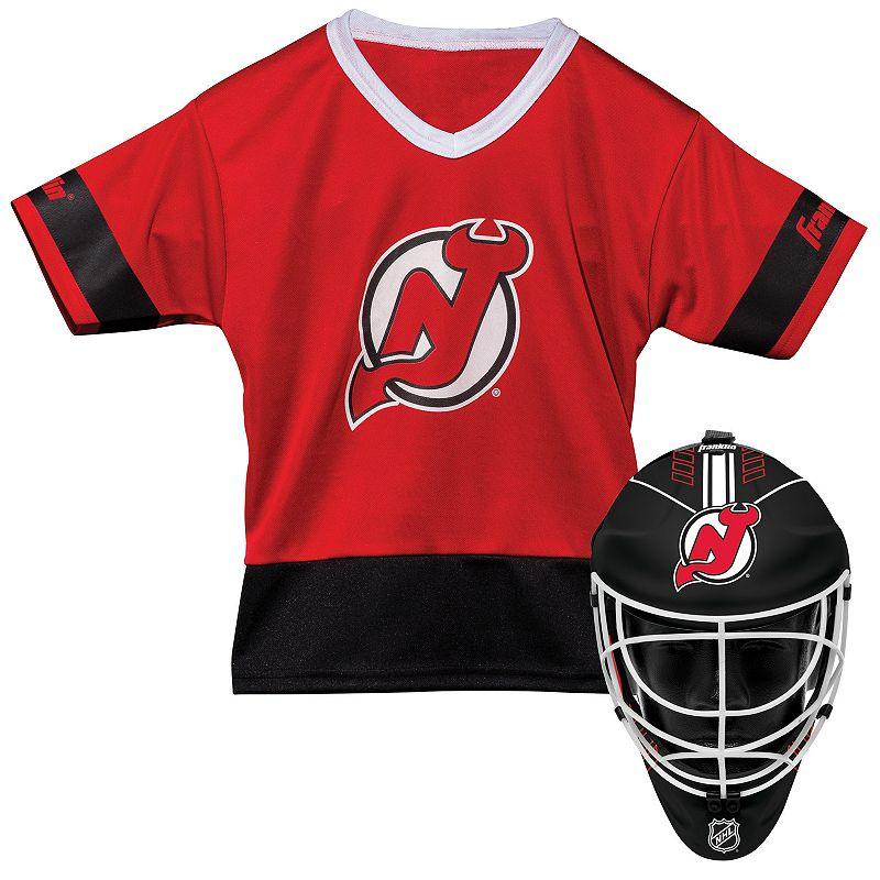 Youth Franklin New Jersey Devils Goalie Face Mask & Jersey Set. Multicolor