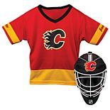 Youth Franklin Calgary Flames Goalie Face Mask & Jersey Set