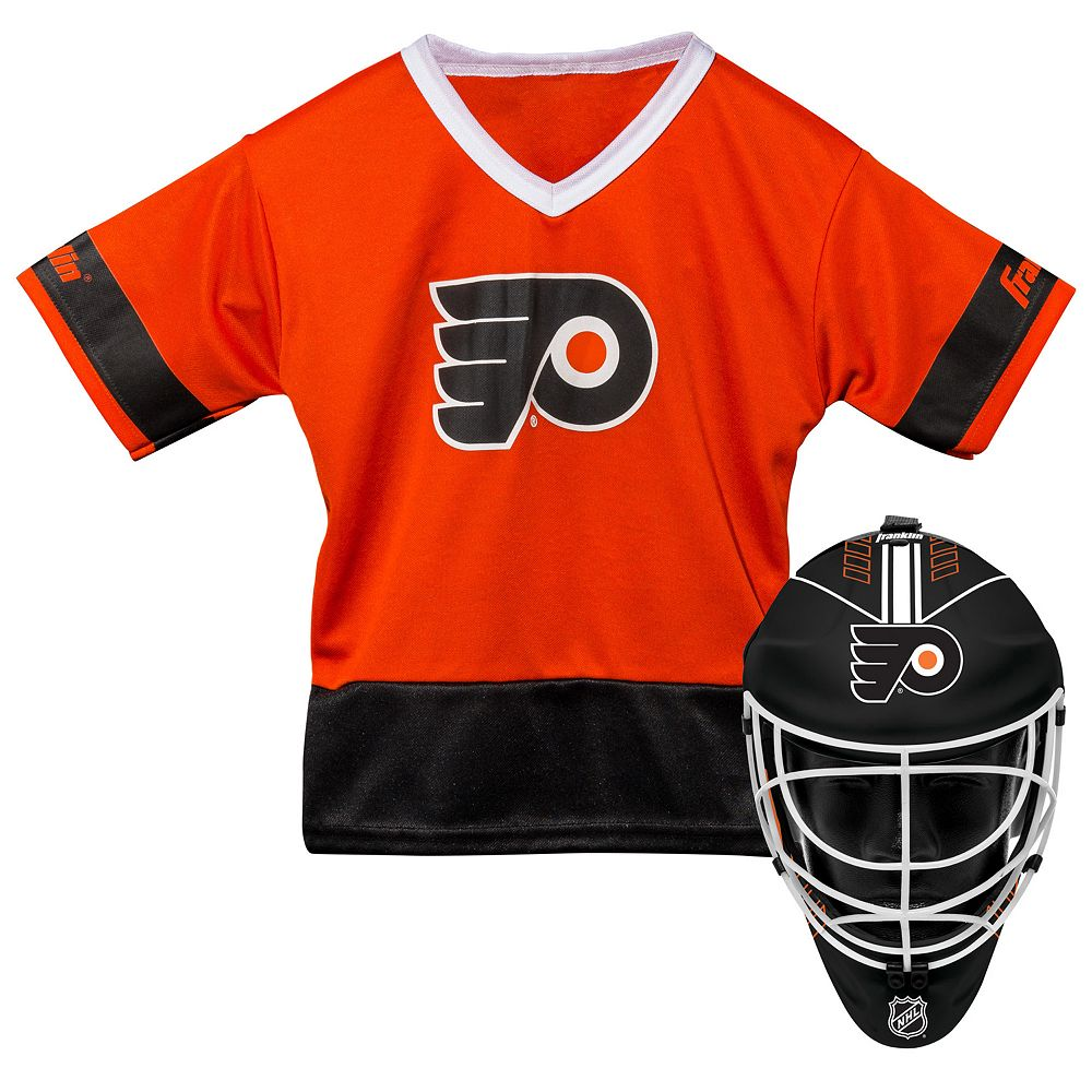 uk availability c46af b2c33 Youth Franklin Philadelphia Flyers Goalie Face Mask & Jersey Set